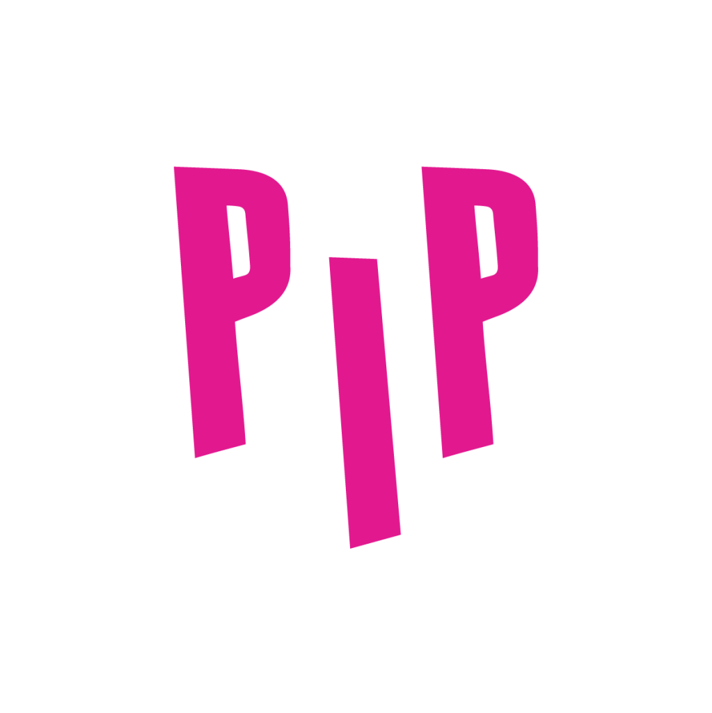 Pones in Public logo pink uppercase letters displaying P I P